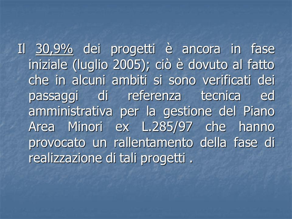 Il 30,9% dei progetti è ancora in fase iniziale (luglio 2005); ciò è dovuto al fatto che in alcuni ambiti si sono verificati dei passaggi di referenza tecnica ed amministrativa per la gestione del Piano Area Minori ex L.285/97 che hanno provocato un rallentamento della fase di realizzazione di tali progetti .