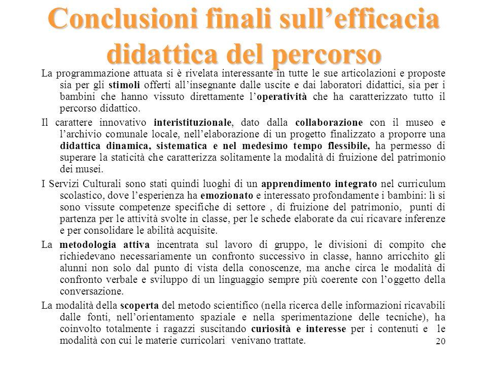 Conclusioni finali sull'efficacia didattica del percorso
