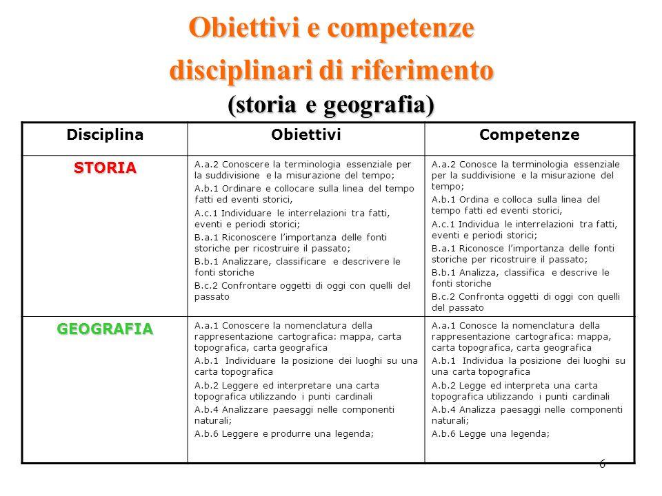 Obiettivi e competenze disciplinari di riferimento (storia e geografia)