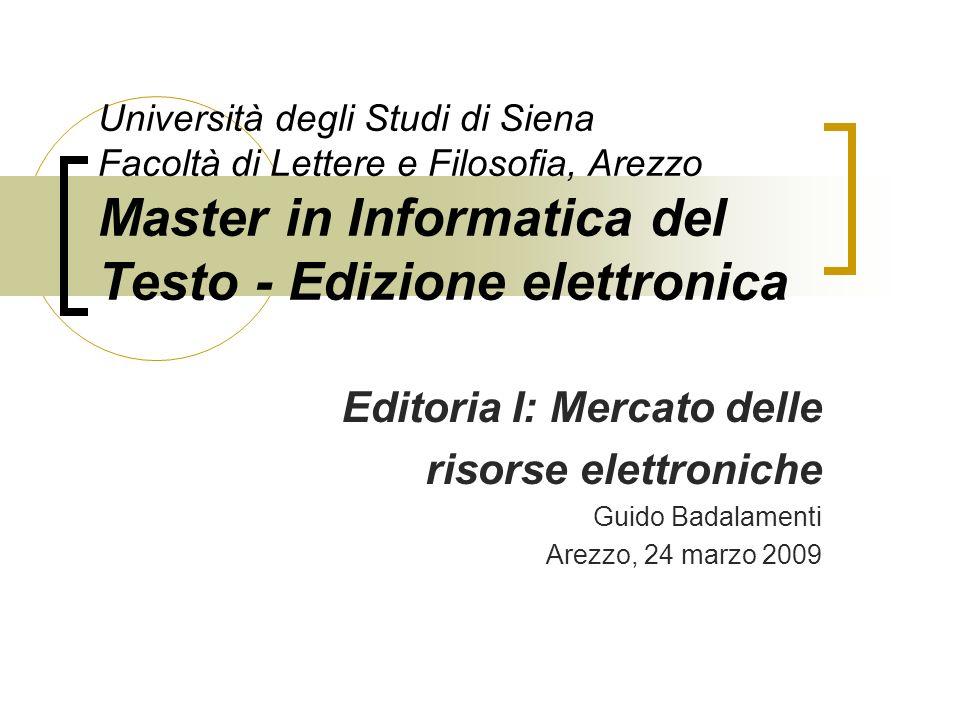 Editoria I: Mercato delle risorse elettroniche