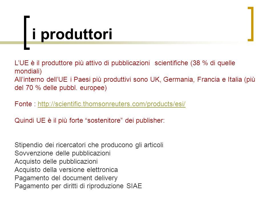 i produttoriL'UE è il produttore più attivo di pubblicazioni scientifiche (38 % di quelle mondiali)