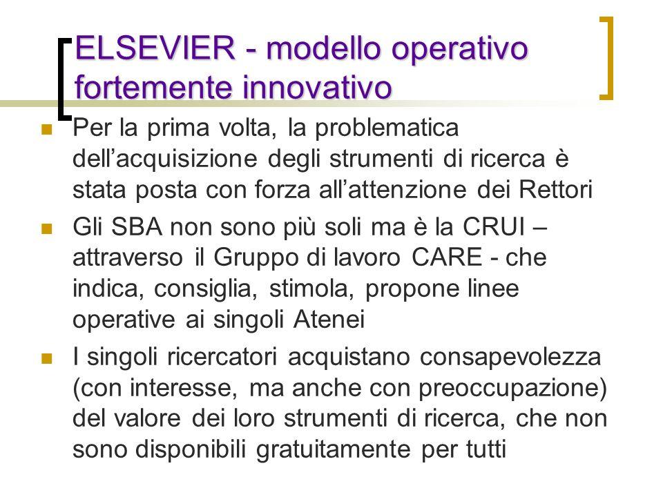 ELSEVIER - modello operativo fortemente innovativo