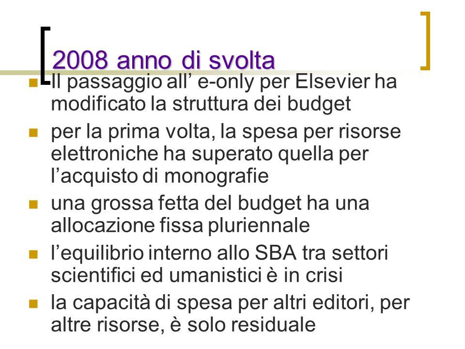 2008 anno di svolta Il passaggio all' e-only per Elsevier ha modificato la struttura dei budget.