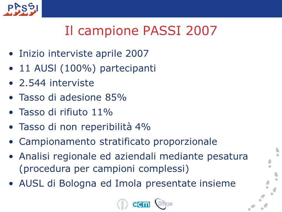 Il campione PASSI 2007 Inizio interviste aprile 2007