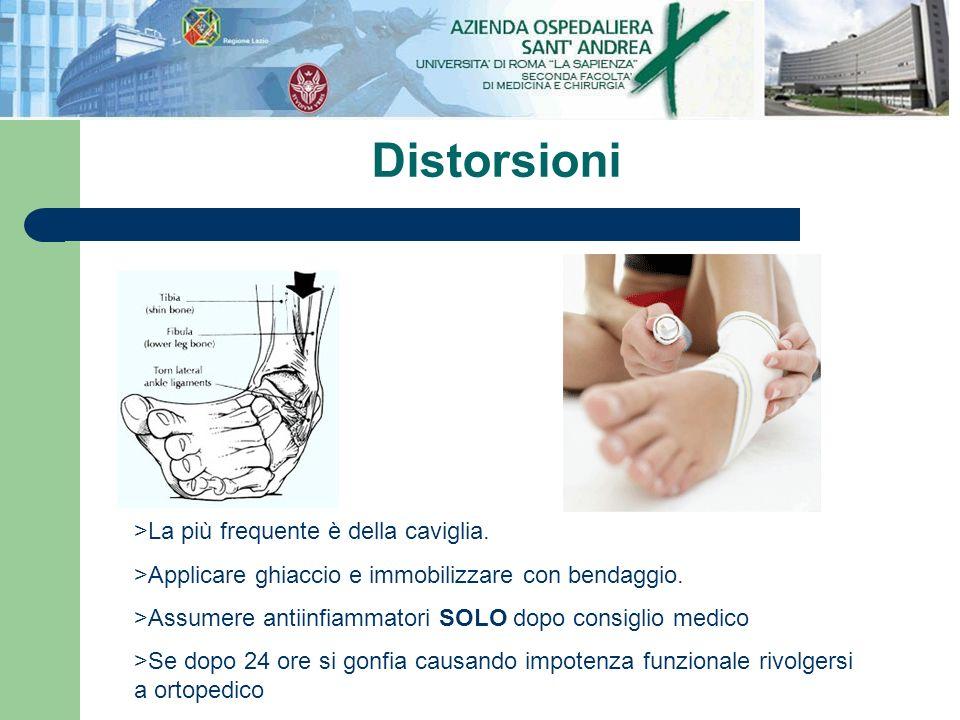 Distorsioni >La più frequente è della caviglia.