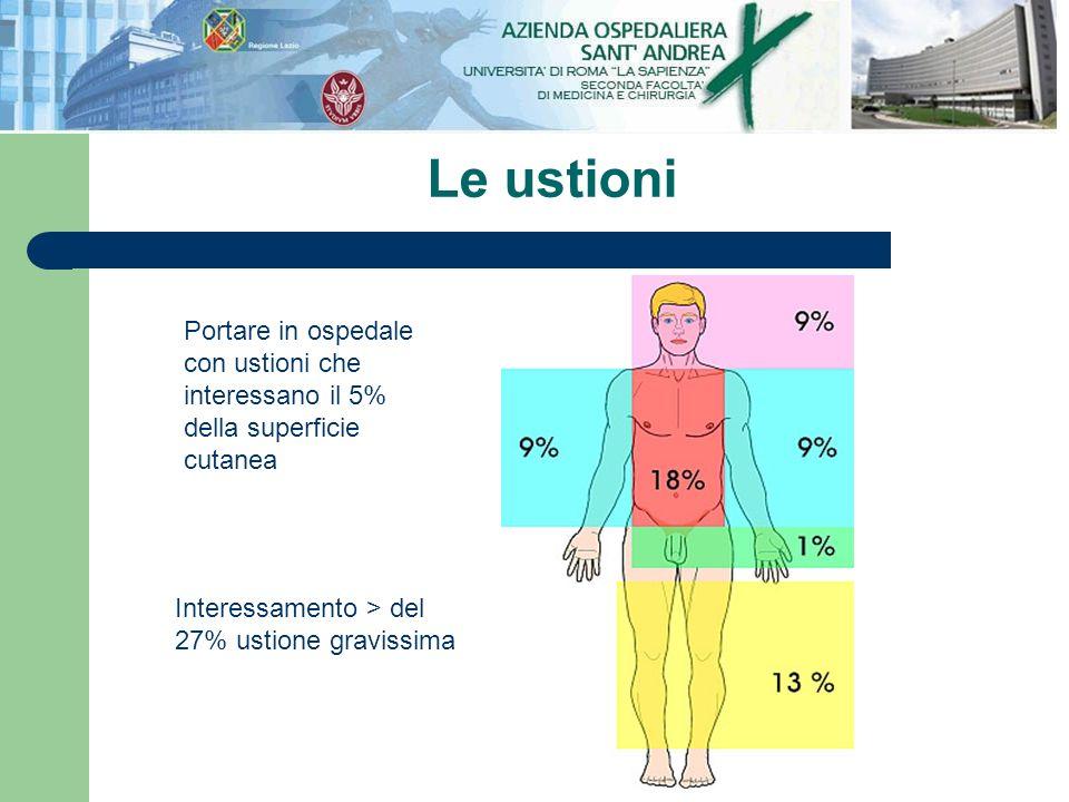 Le ustioniPortare in ospedale con ustioni che interessano il 5% della superficie cutanea.