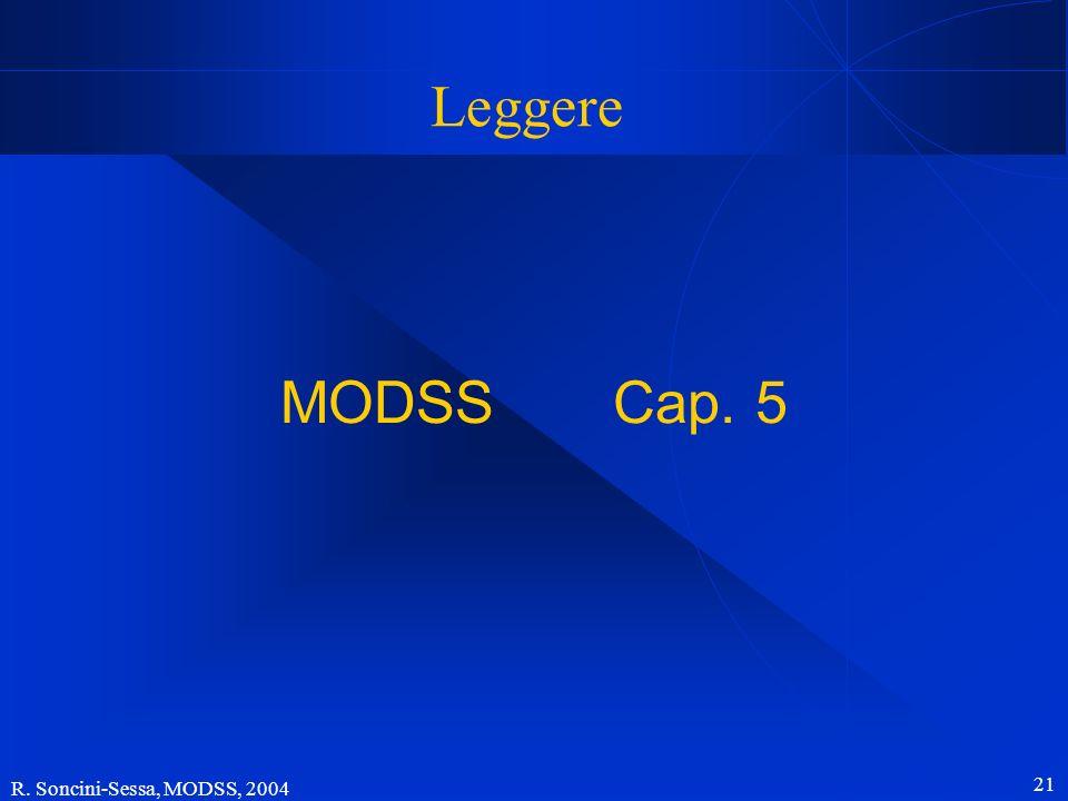 Leggere MODSS Cap. 5 R. Soncini-Sessa, MODSS, 2004