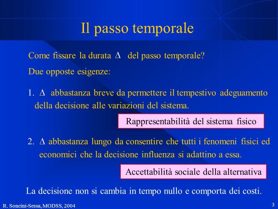 Il passo temporale Come fissare la durata del passo temporale