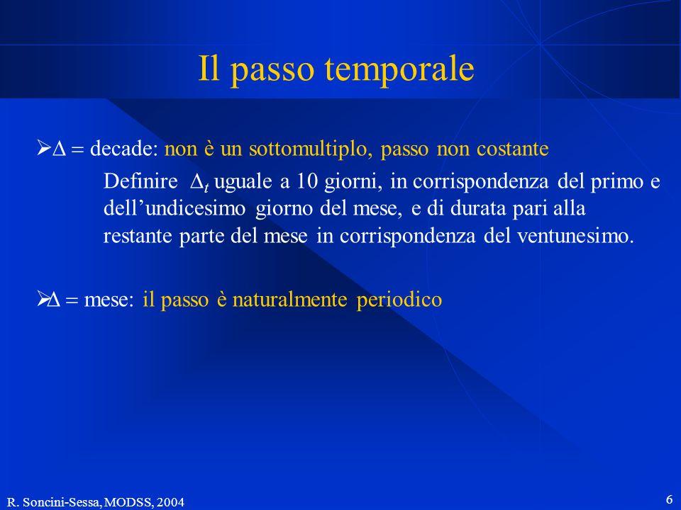 Il passo temporale D = decade: non è un sottomultiplo, passo non costante.