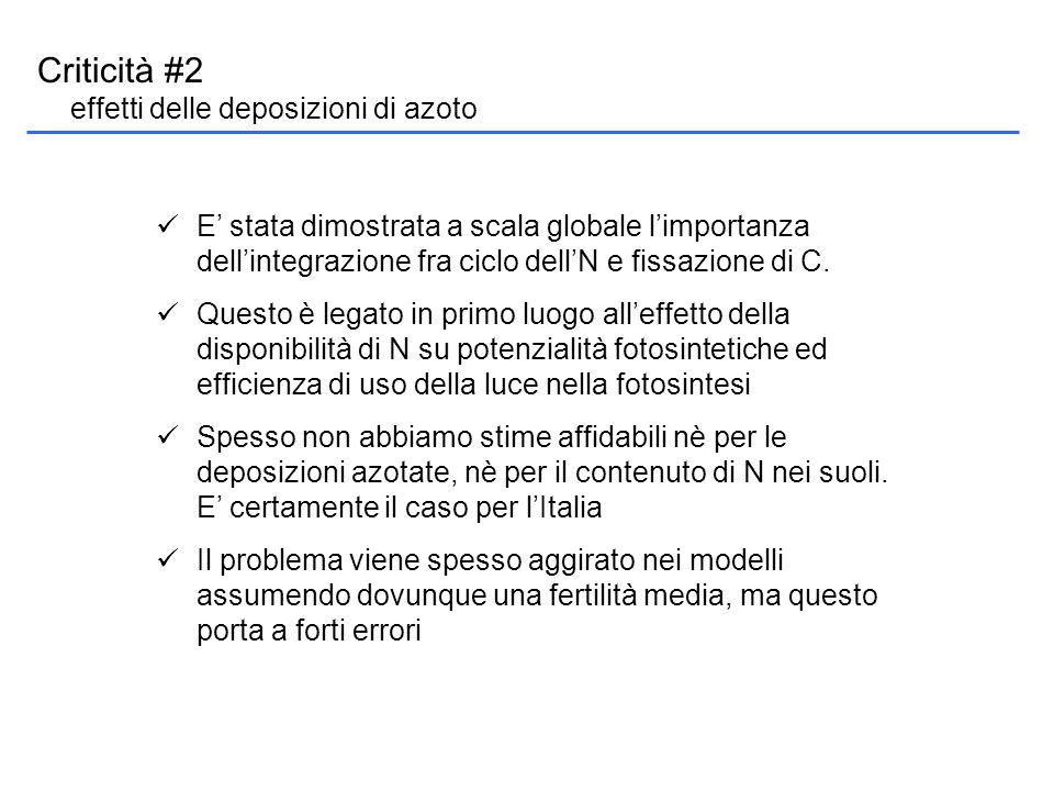 Criticità #2 effetti delle deposizioni di azoto