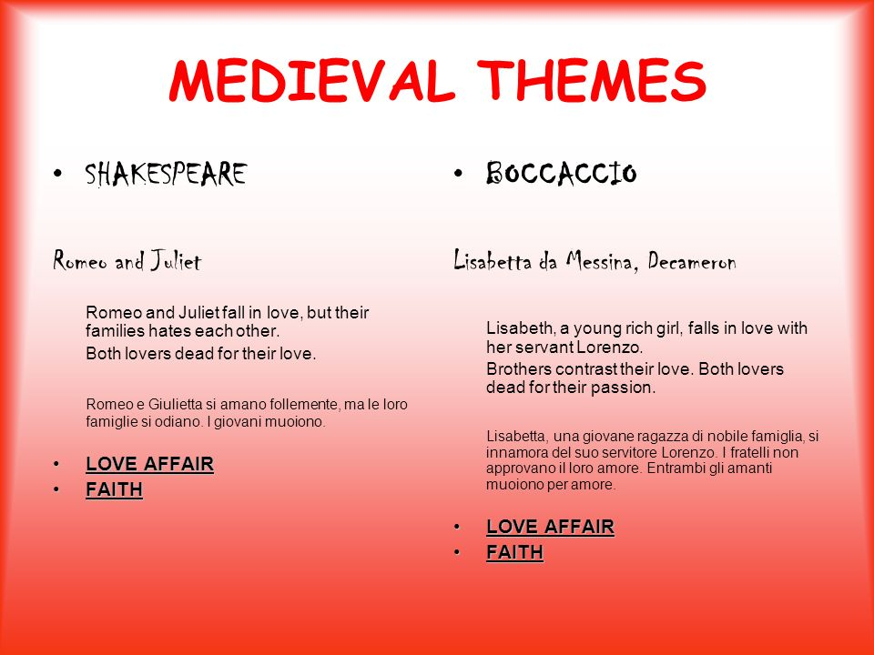 MEDIEVAL THEMES SHAKESPEARE BOCCACCIO Romeo and Juliet