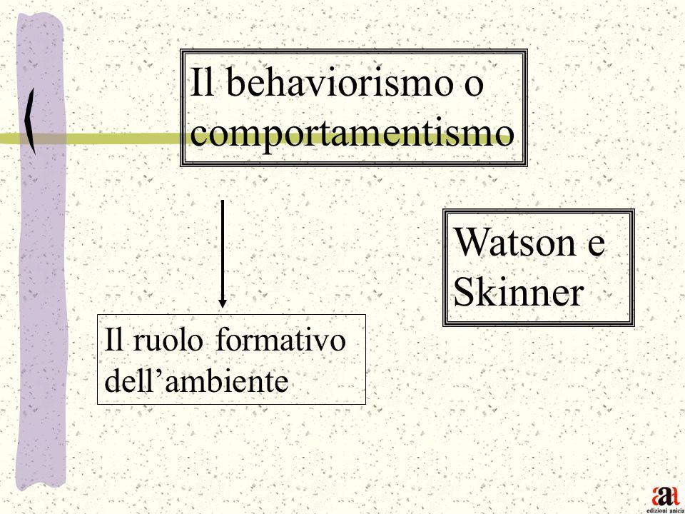 Il behaviorismo o comportamentismo Watson e Skinner Il ruolo formativo