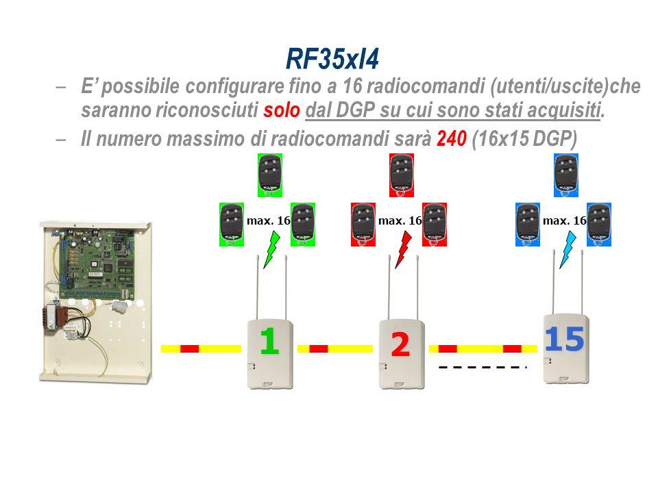 RF35xI4 E' possibile configurare fino a 16 radiocomandi (utenti/uscite)che saranno riconosciuti solo dal DGP su cui sono stati acquisiti.