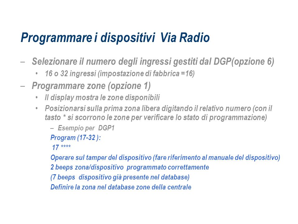 Programmare i dispositivi Via Radio