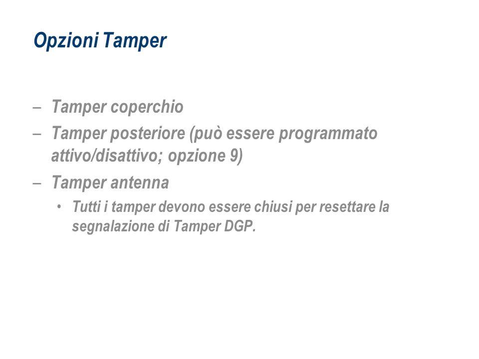 Opzioni Tamper Tamper coperchio