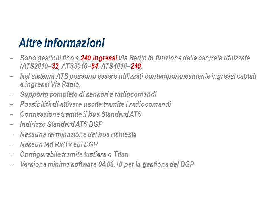Altre informazioniSono gestibili fino a 240 ingressi Via Radio in funzione della centrale utilizzata (ATS2010=32, ATS3010=64, ATS4010=240)