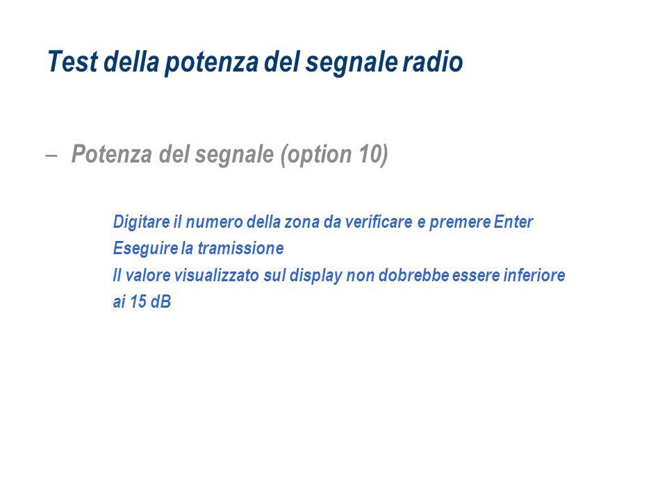 Test della potenza del segnale radio