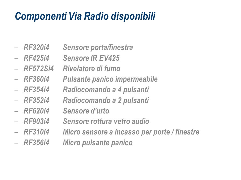 Componenti Via Radio disponibili