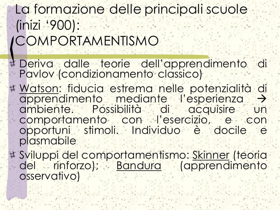 La formazione delle principali scuole (inizi '900): COMPORTAMENTISMO