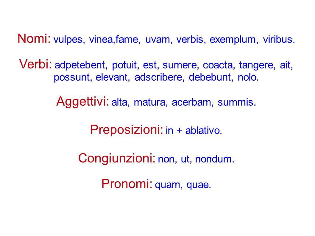 Nomi: vulpes, vinea,fame, uvam, verbis, exemplum, viribus.