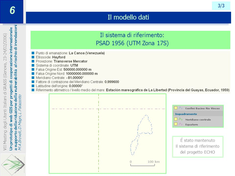 6 Il modello dati Il sistema di riferimento: PSAD 1956 (UTM Zona 17S)