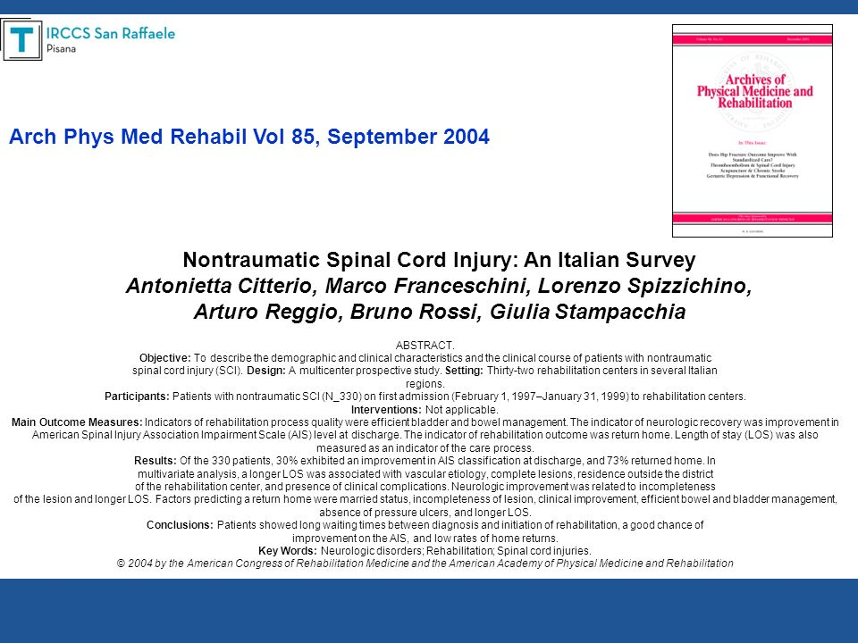 Arch Phys Med Rehabil Vol 85, September 2004