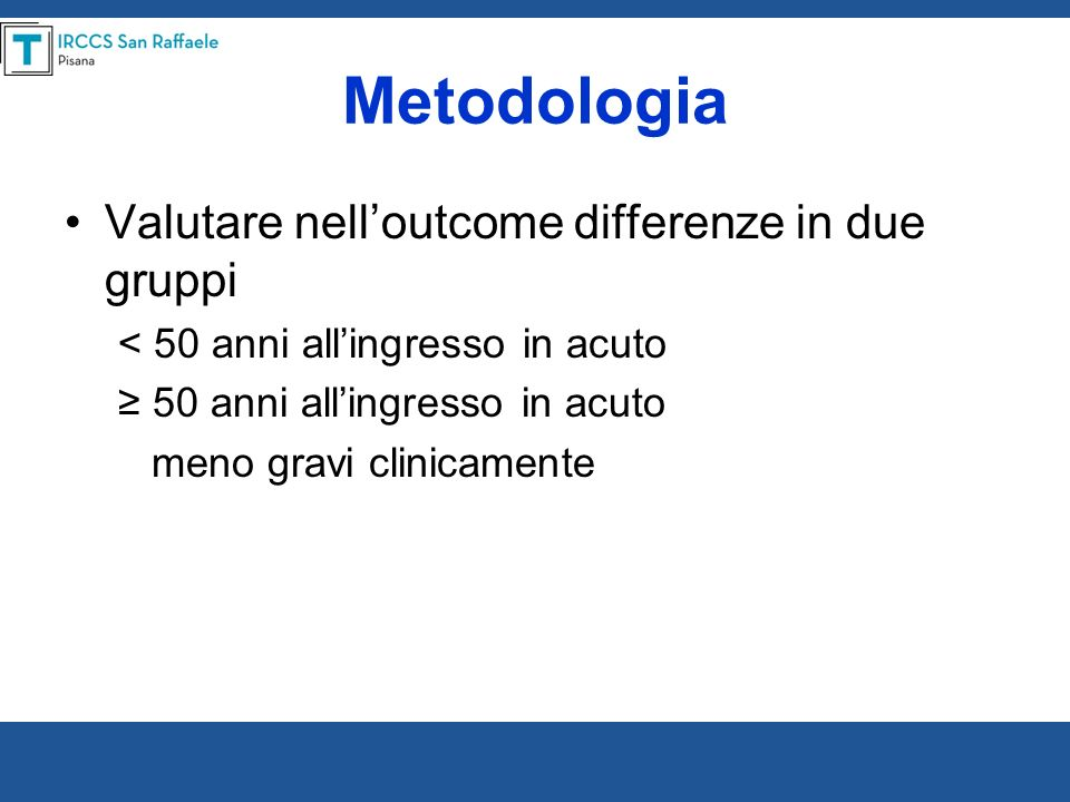 Metodologia Valutare nell'outcome differenze in due gruppi