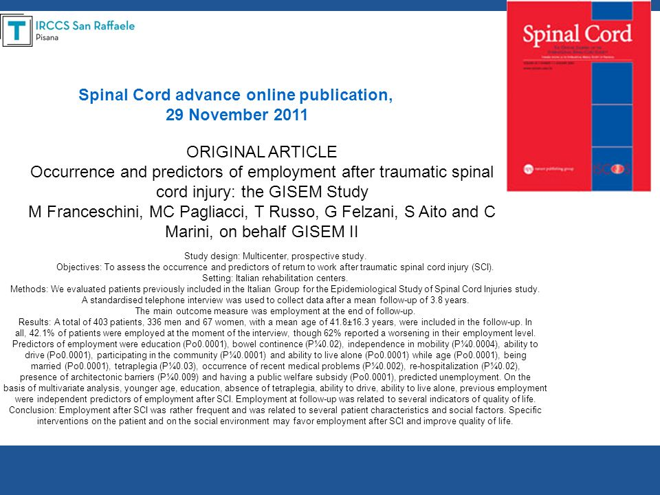 Spinal Cord advance online publication,
