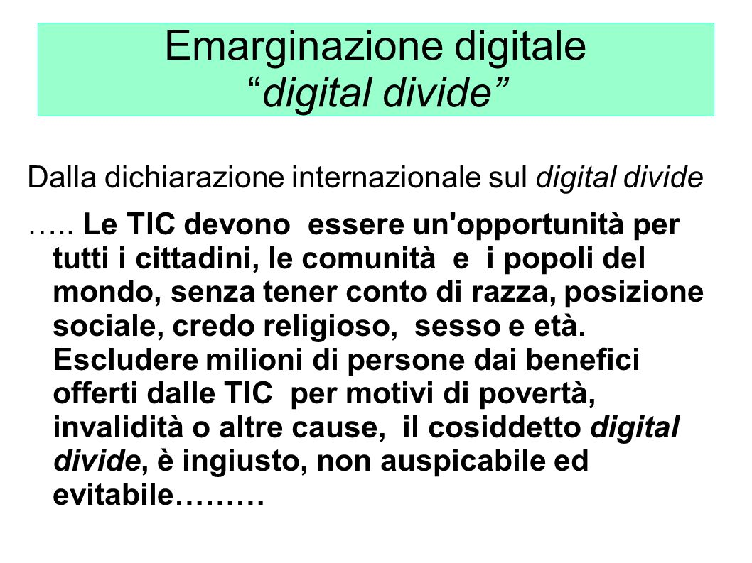 Emarginazione digitale digital divide