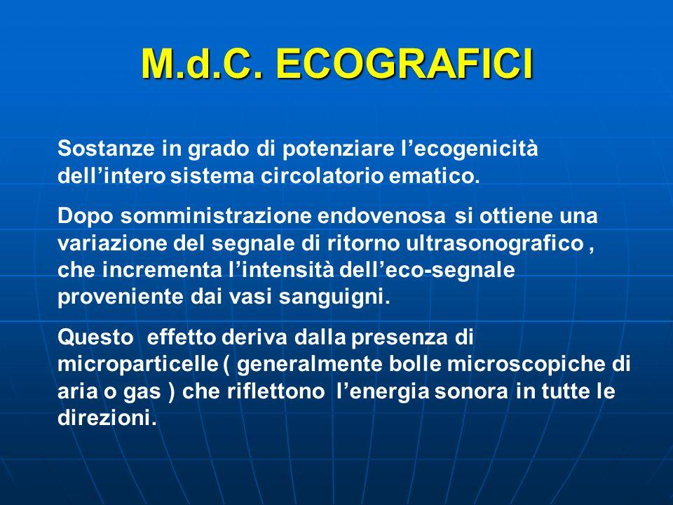 M.d.C. ECOGRAFICI Sostanze in grado di potenziare l'ecogenicità dell'intero sistema circolatorio ematico.