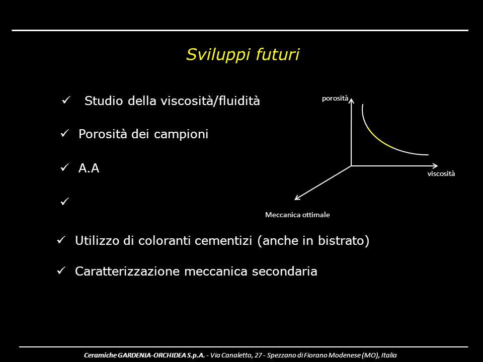 Sviluppi futuri Studio della viscosità/fluidità Porosità dei campioni