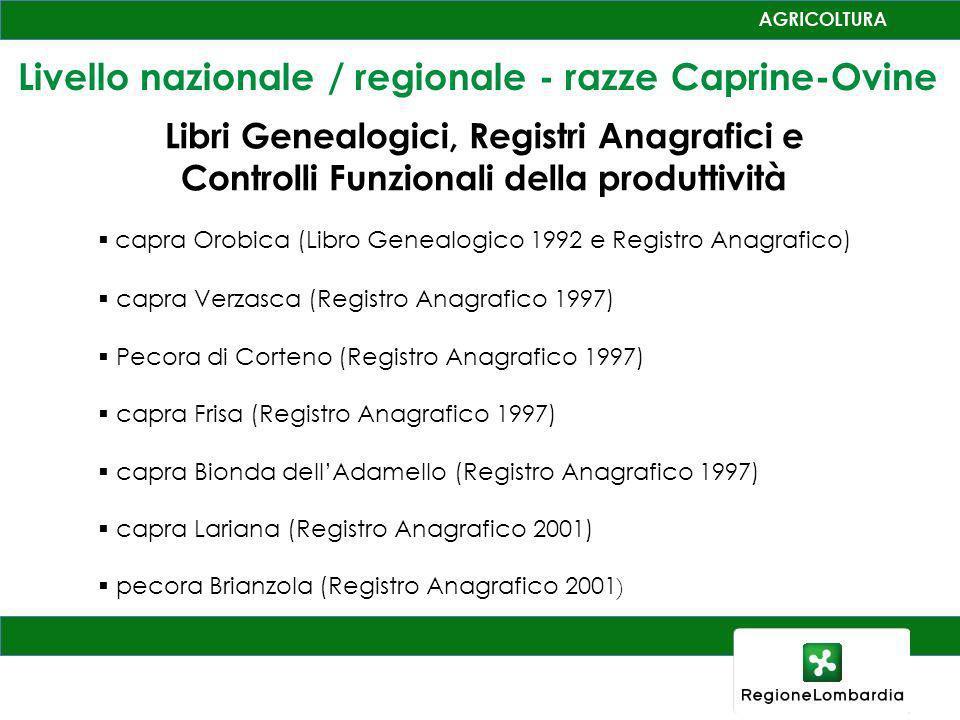 Livello nazionale / regionale - razze Caprine-Ovine