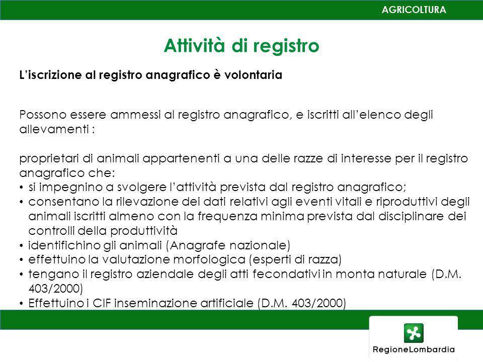 Attività di registro L'iscrizione al registro anagrafico è volontaria