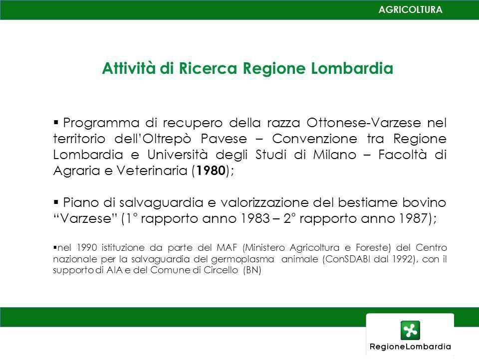 Attività di Ricerca Regione Lombardia