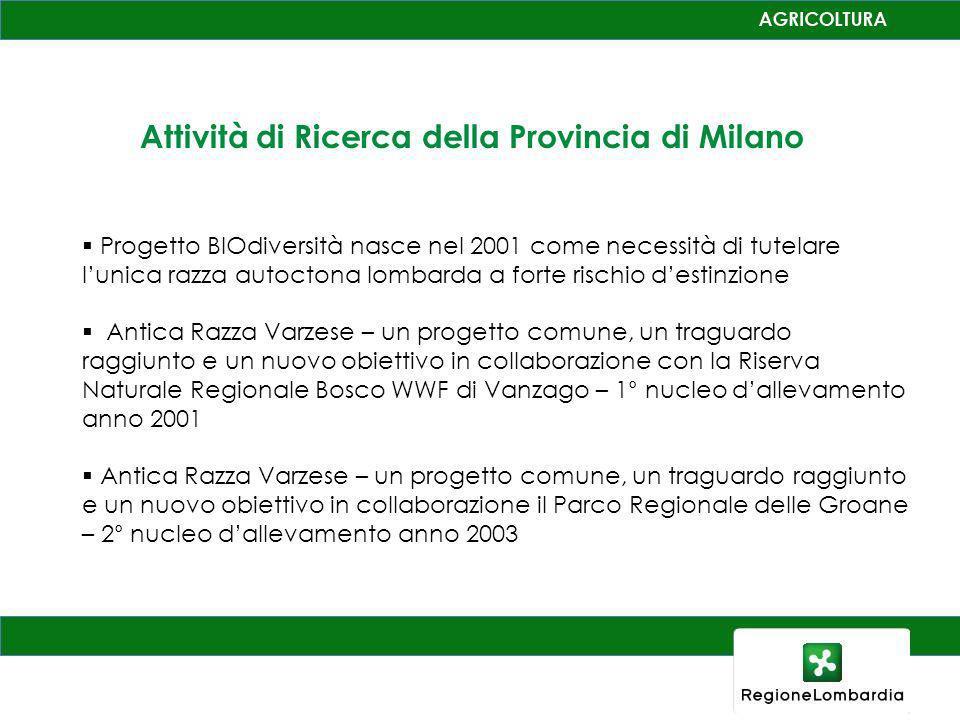 Attività di Ricerca della Provincia di Milano