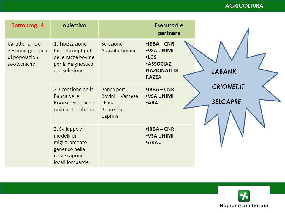 Sottoprog. 4 obiettivo Esecutori e partners
