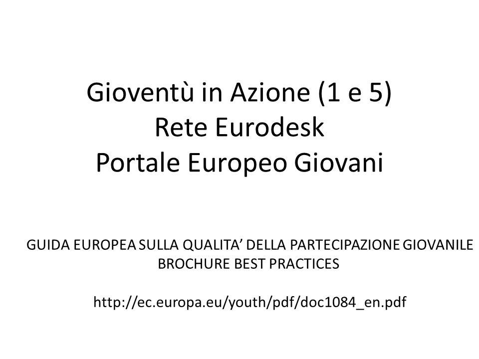 Gioventù in Azione (1 e 5) Rete Eurodesk Portale Europeo Giovani