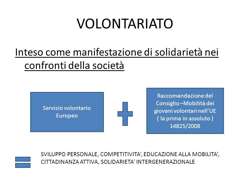 VOLONTARIATO Inteso come manifestazione di solidarietà nei confronti della società.