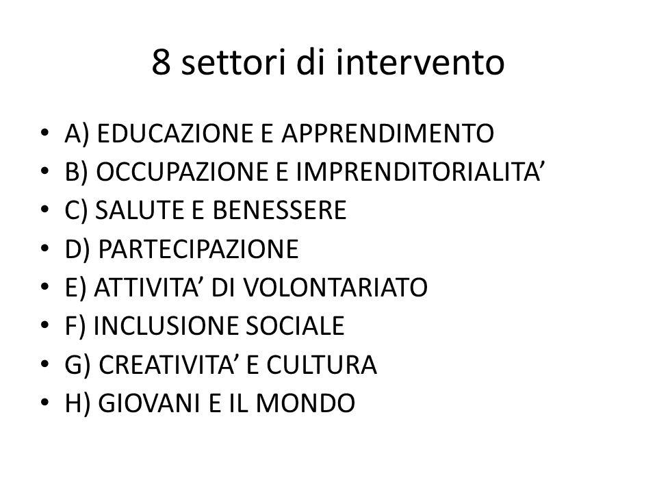 8 settori di intervento A) EDUCAZIONE E APPRENDIMENTO
