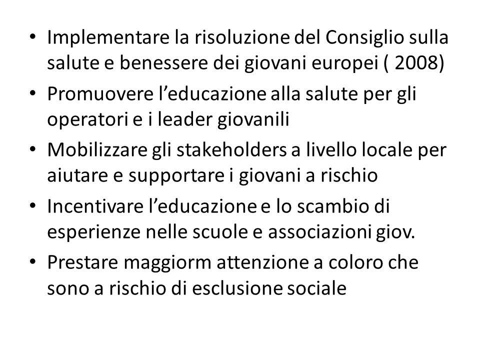 Implementare la risoluzione del Consiglio sulla salute e benessere dei giovani europei ( 2008)