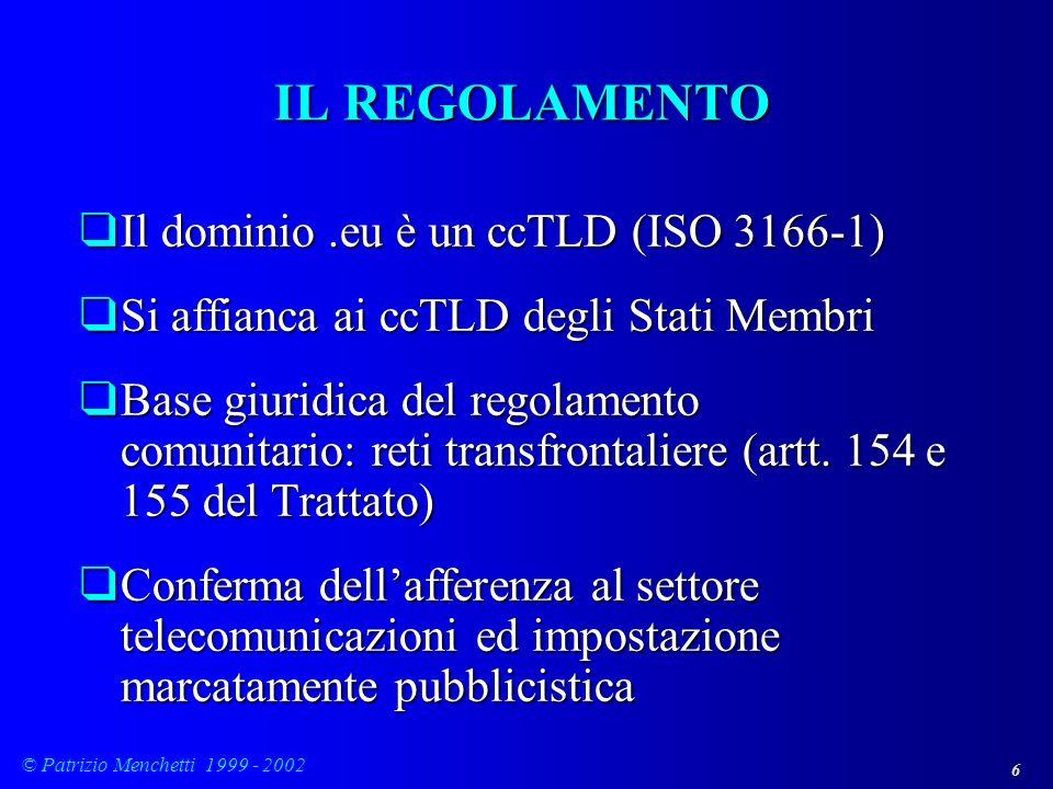 IL REGOLAMENTO Il dominio .eu è un ccTLD (ISO 3166-1)