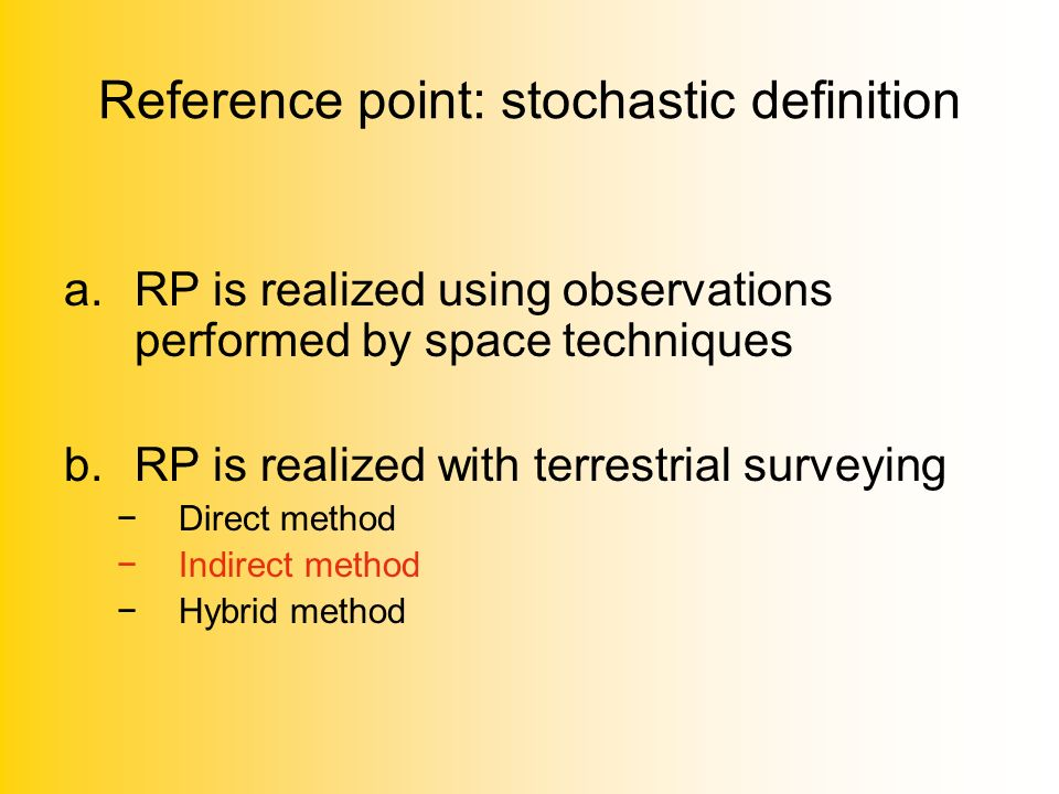 Reference point: stochastic definition