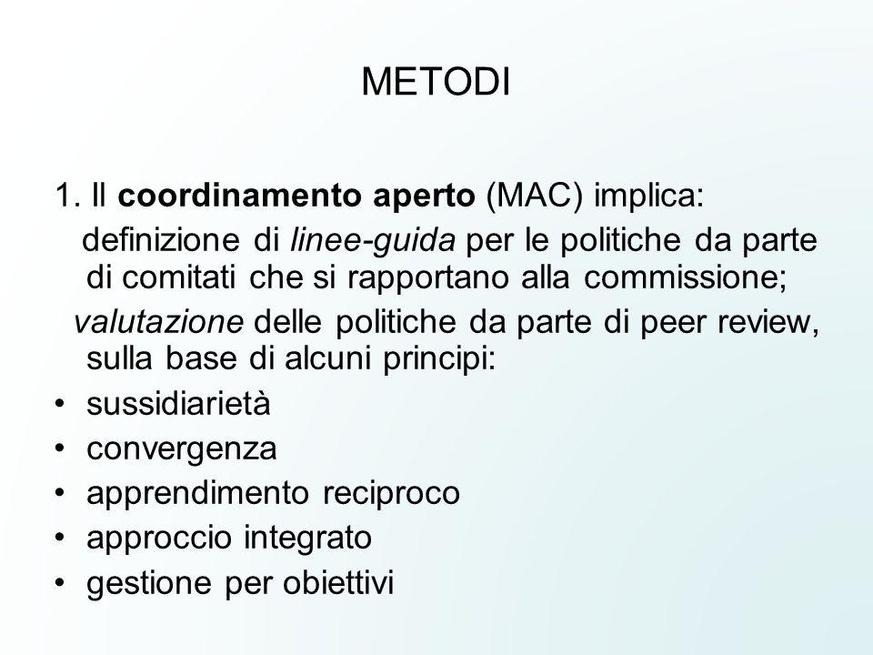 METODI 1. Il coordinamento aperto (MAC) implica: