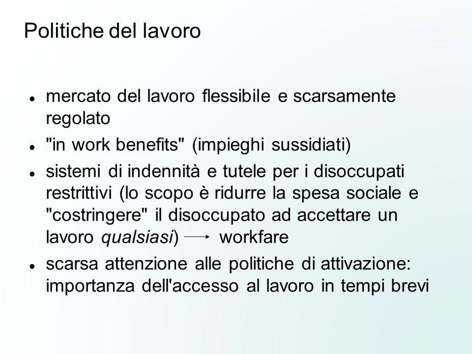 Politiche del lavoro mercato del lavoro flessibile e scarsamente regolato. in work benefits (impieghi sussidiati)