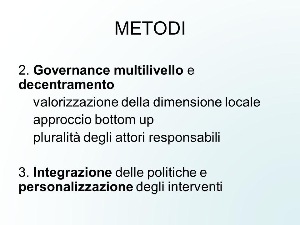METODI 2. Governance multilivello e decentramento
