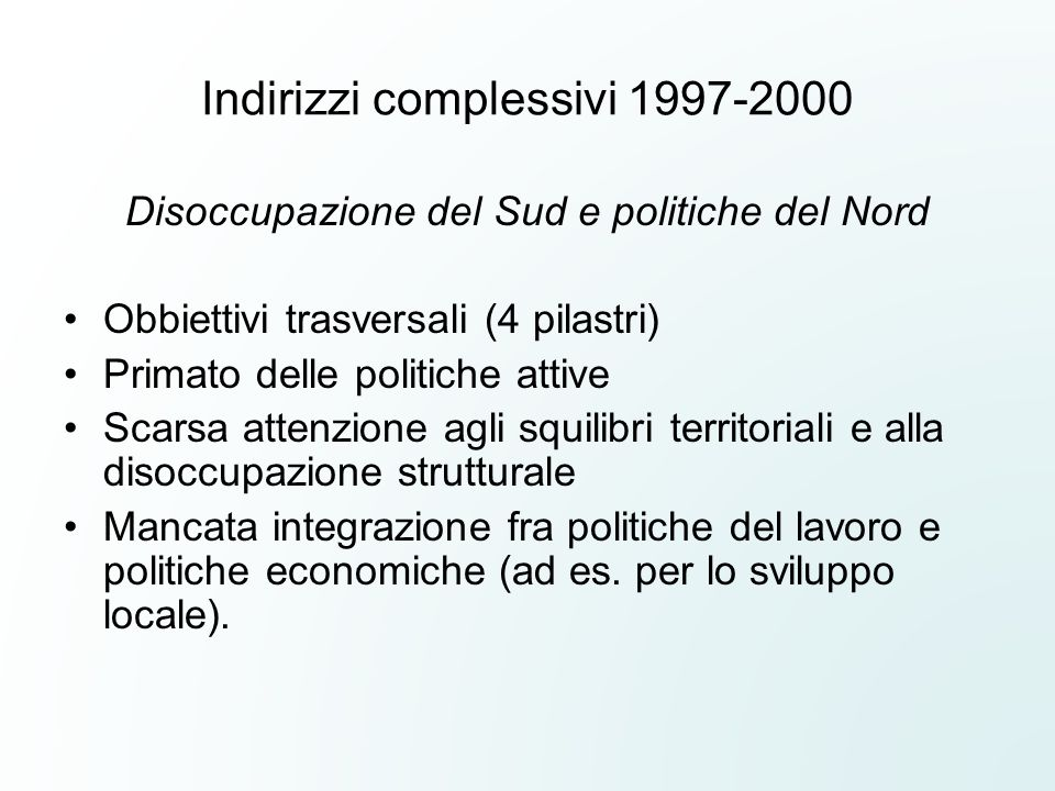 Indirizzi complessivi 1997-2000