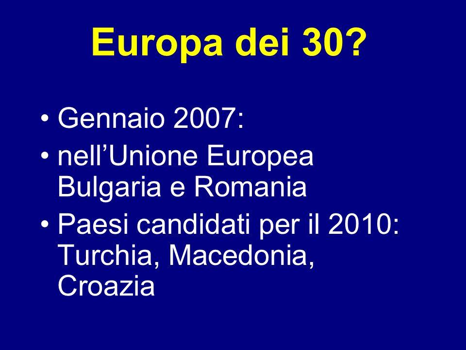 Europa dei 30 Gennaio 2007: nell'Unione Europea Bulgaria e Romania