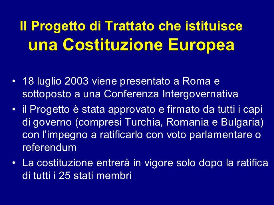 Il Progetto di Trattato che istituisce una Costituzione Europea