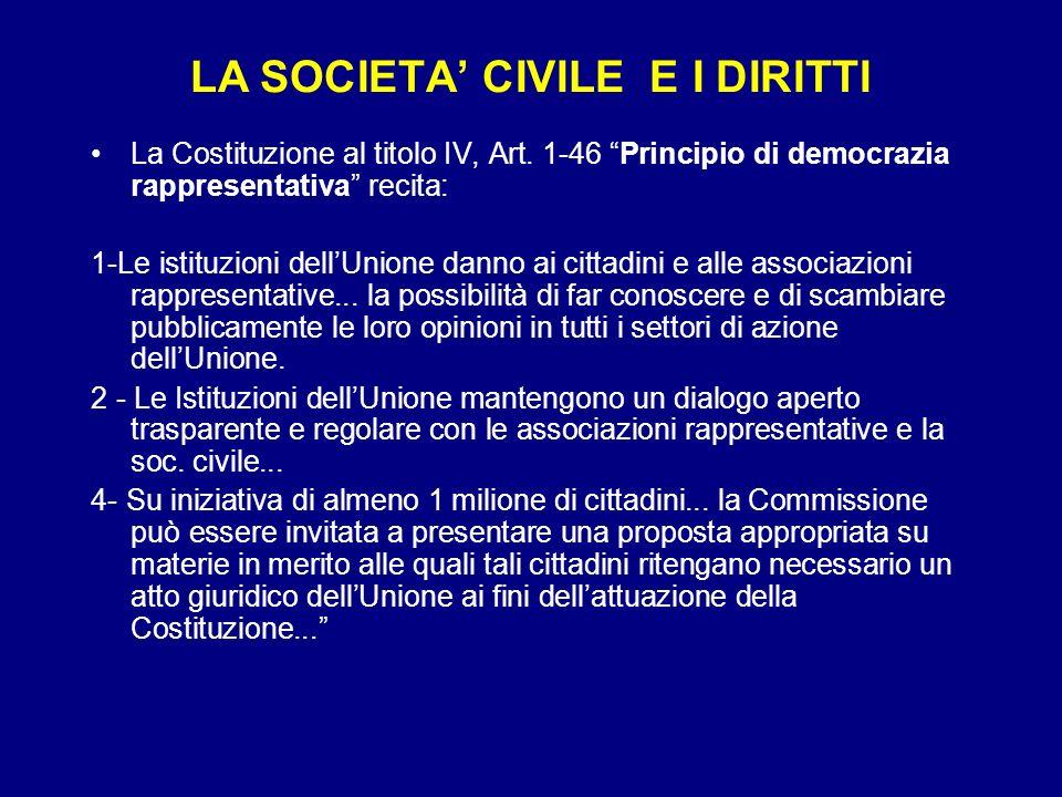 LA SOCIETA' CIVILE E I DIRITTI