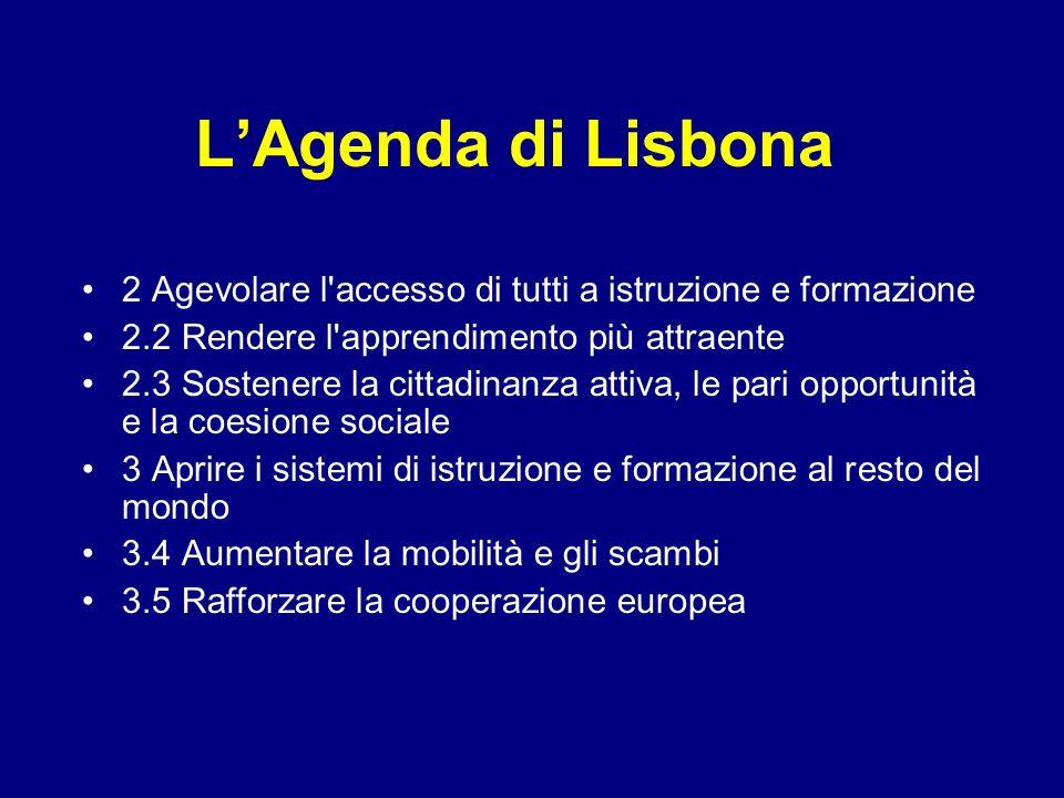L'Agenda di Lisbona 2 Agevolare l accesso di tutti a istruzione e formazione. 2.2 Rendere l apprendimento più attraente.